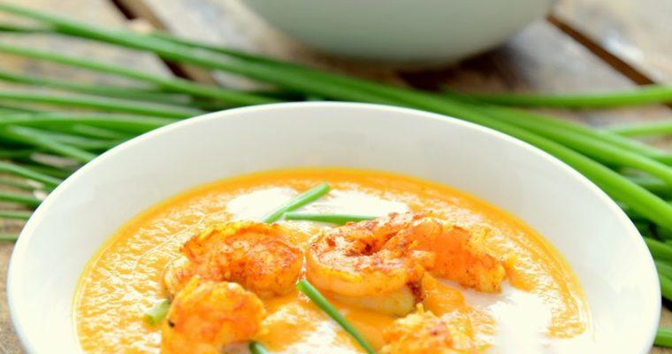 Krem z marchewki z krewetkami curry